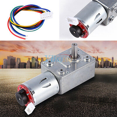 Dc 12v Reversible High Torque Turbo Worm Geared Motor Encoder Cable 10-100rpm