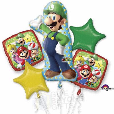 Super Mario Balloon (Nintendo Super Mario - Luigi 5pc Mylars Happy Birthday Bouquet Foil)