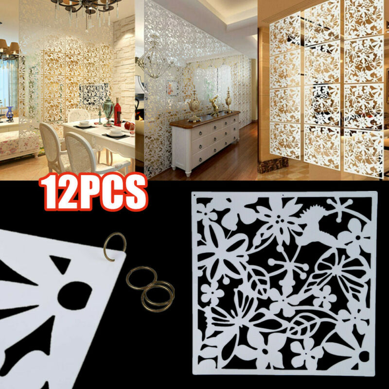12 x White Plastic Hanging Screen Room Divider Wall Panels P