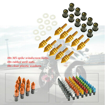 10Pcs M5 8Colors Motorcycle CNC Fairing Windscreen Spike Bolts Washers Durable