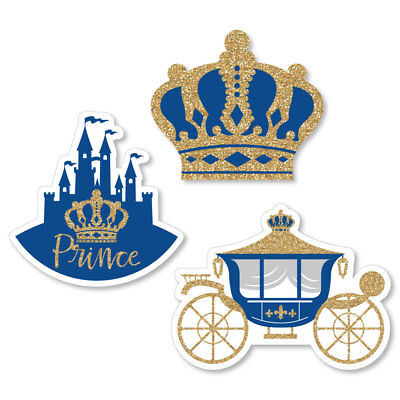 Royal Prince Charming - Shaped Baby Shower or Birthday Party Cut-Outs - 24 Count