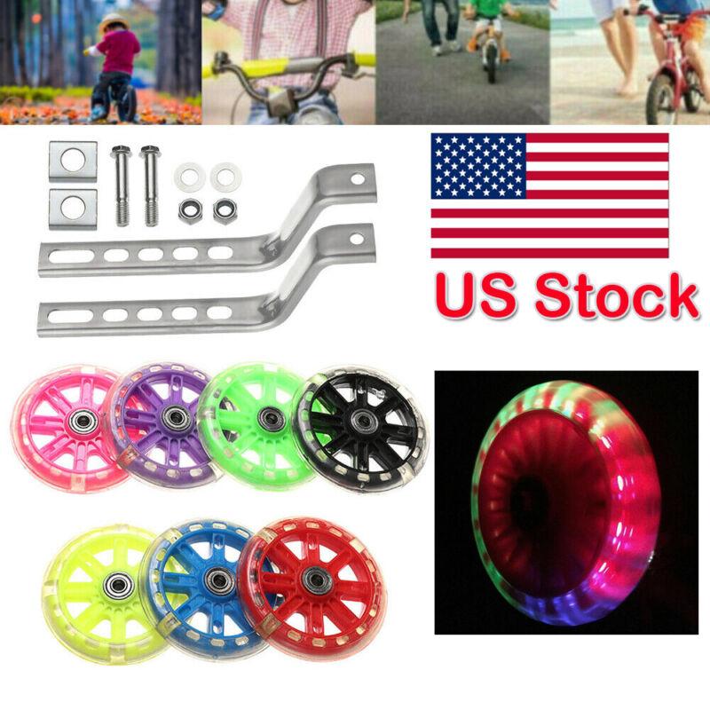 "Flashing Kid Adjustable Training Side Wheels for Children 12-20"" Bicycle Balance"