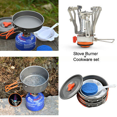 Camping Stove+Pot Pan Kit for Outdoor Backpacking Gear&Hiking Cooking Equipment - Cooking Kit