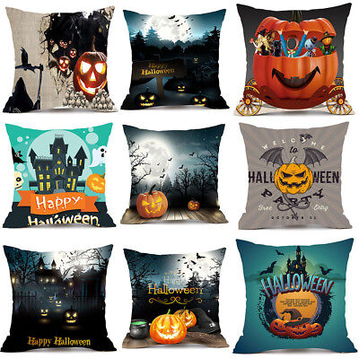 Happy Halloween Pillow Cases Linen Cotton Sofa Cushion Cover Home Room Decor New