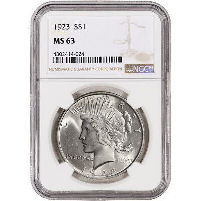 1923 US Peace Silver Dollar $1 - NGC MS63