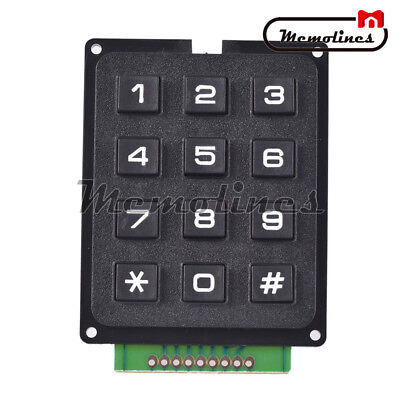 12 Key 4x3 Array Membrane Switch Keyboard Matrix Switch Keypad Black 69519.7mm