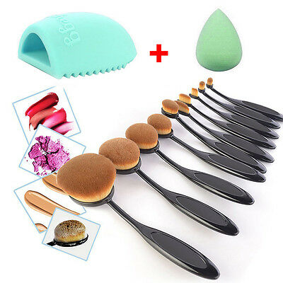 10Pcs Professional Makeup Brushes Set Oval Cream Puff Toothbrush Brush Black