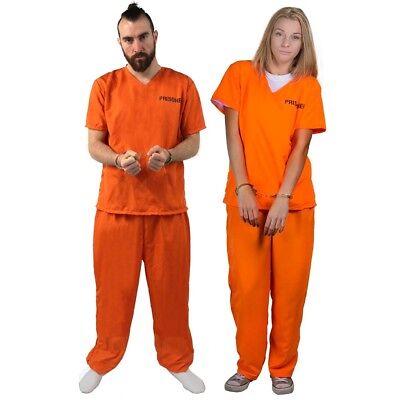 Gefängnis Kostüme (STRÄFLINGS KOSTÜM UNISEX GEFANGENER KNASTI GEFÄNGNIS VERBRECHER HERREN DAMEN FAS)