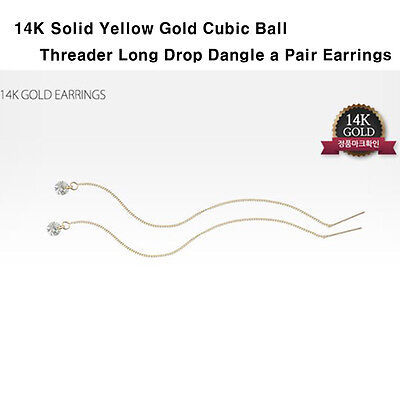 TPD Solid 14K Yellow Gold w/ Cubic Ball Threader Long Drop Dangle Pair Earrings