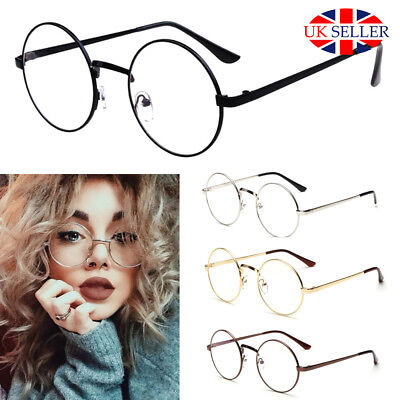 Fashion Round Frame Clear Glasses Round Circle Eye Retro Metal Vintage Pilot UK