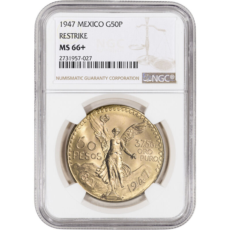 1947 Mexico Gold 50 Pesos - NGC MS66+ - Restrike