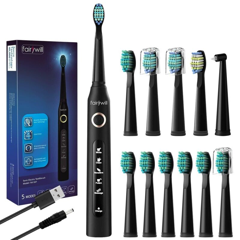 Fairywill Electric Toothbrush Whitening Black Sonic Toothbrushes 12 Brush Heads