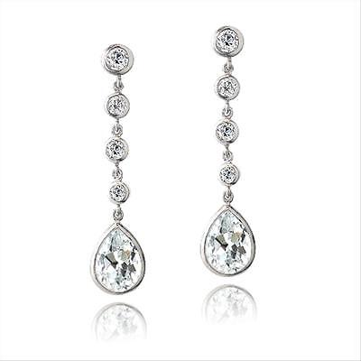 Cubic Zirconia Linear Teardrop Earring (925 Silver CZ Linear Teardrop Dangle)