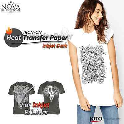 New Inkjet Iron-on Heat Transfer Paper For Dark Fabric 100 Sheets - 8.5 X 11