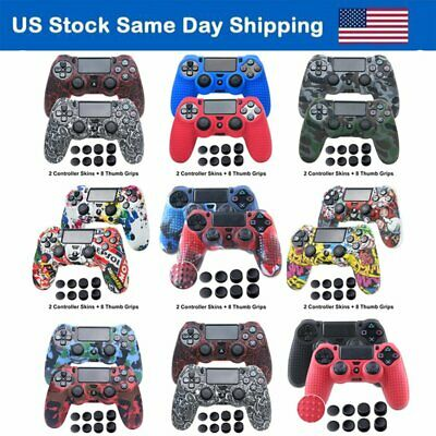 Silicone Case Cover Anti-slip Skin w/ 8 Thumb Grip for Sony PS4 Game Controller