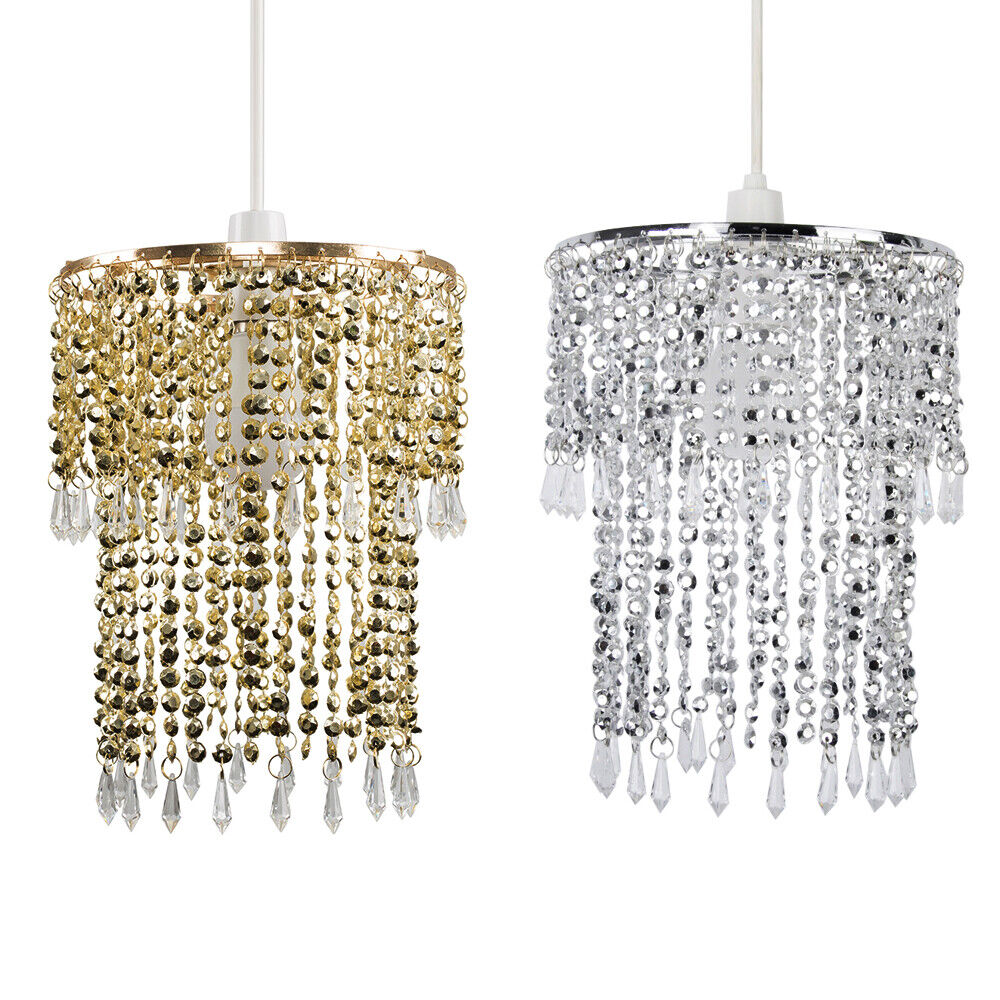 Modern Crystal Bead Droplet Ceiling Pendant Chandelier Light Fitting Lamp Shade