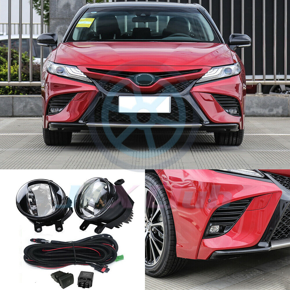Details About Led Drl Fog Light Driving Lamp W Harness Swith Kit J For Toyota Camry 2018 2019