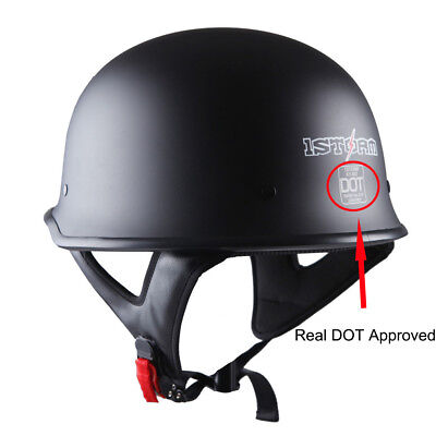 DOT 1STorm Motorcycle Half Face Helmet Mopeds Scooter Novelty German Matt Black