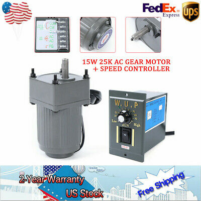 15w 110v Gear Motors Electric Variable Speed Controller 110 125rpm Torque Large
