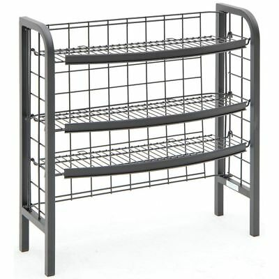 Floor Standing Display Fixture 3 Shelves Wire Black 32l X 12w X 32h