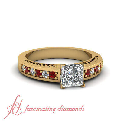 1 Carat Princess Cut Diamond And Ruby Contemporary Engagement Ring For Women GIA