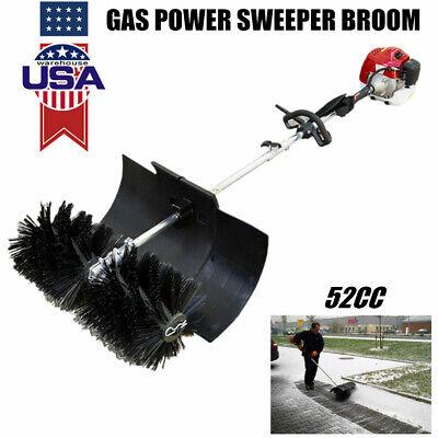 2.3hp Gas Power Walk Behind Tractor Dirt Snow Sweeper Broom Driveway Walkway Usa