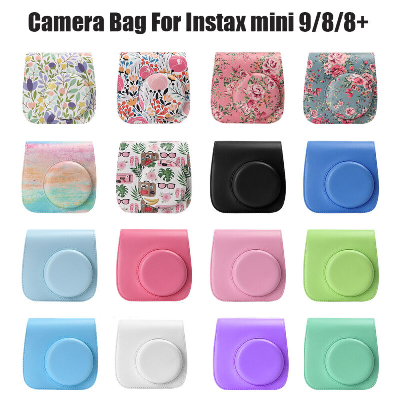 PU Leather Instant Camera Case Cover Shoulder Bag Strap For Instax Mini 8//9//8+