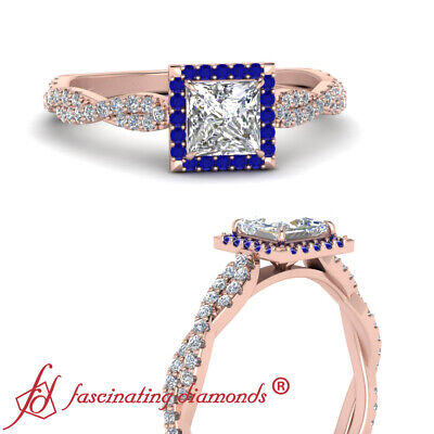 Twisted Halo Engagement Ring With Princess Cut Diamond And Sapphire 0.75 Carat