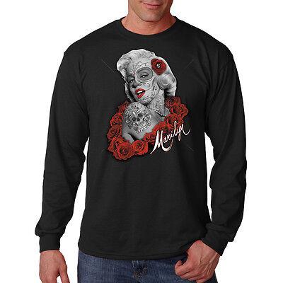 Male Sugar Skull Face Paint (Marilyn Monroe Sugar Skull Face Paint Movie Star Sexy Long Sleeve T-Shirt)