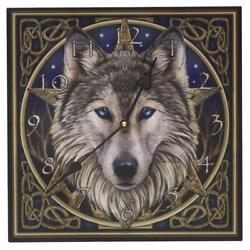 Wall Art Wolf Face Clock Lightweight Wood w/ Hook 12W x 12H