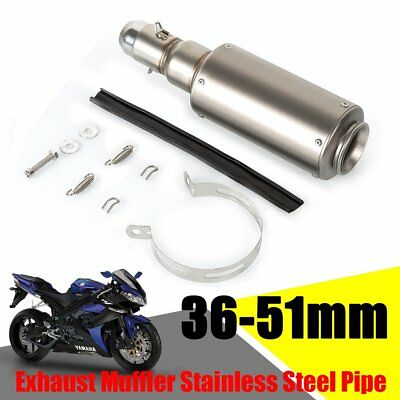 Universal 36-51mm GP Motorcycle Stainless Steel Muffler Exhaust Pipe Silencer UK