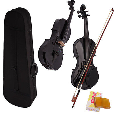New Student Basswood Full Size 4/4 Acoustic Violin + Case + Bow + Rosin Black