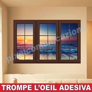 Wall stickers adesivi trompe l 39 oeil quadro moderno arredo affresco finestra mare ebay - Trompe l oeil finestra ...