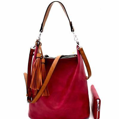 Tassel Accented Hobo Handbag - Tassel Accent 2-Way Hobo Handbag Wallet SET