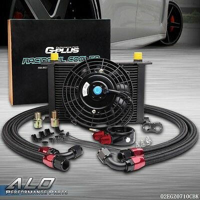 "US 25 Row AN10 Engine Oil Cooler / Filter adapter hose + 7"" Electric Fan Kit"