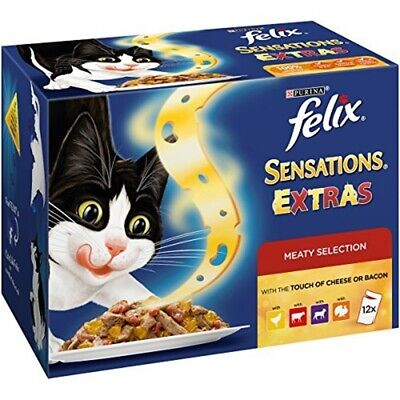 Felix Sensations Extras Cat Food Meaty, 100 G, Pack Of 12 - Extra Meat Pet