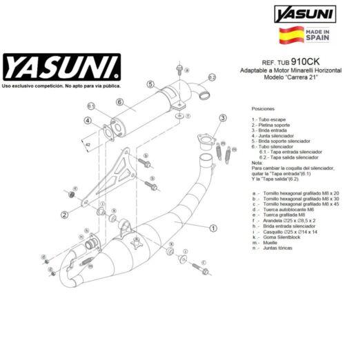 Yasuni Schalldämpfer Carrera 21 Sil Alu Schwarz Garelli 50