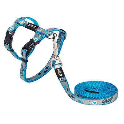 Rogz Kitten Harness & Leash Reflective Cat - Xsmall Neck 6 - 9in Chest 8-12 Blue