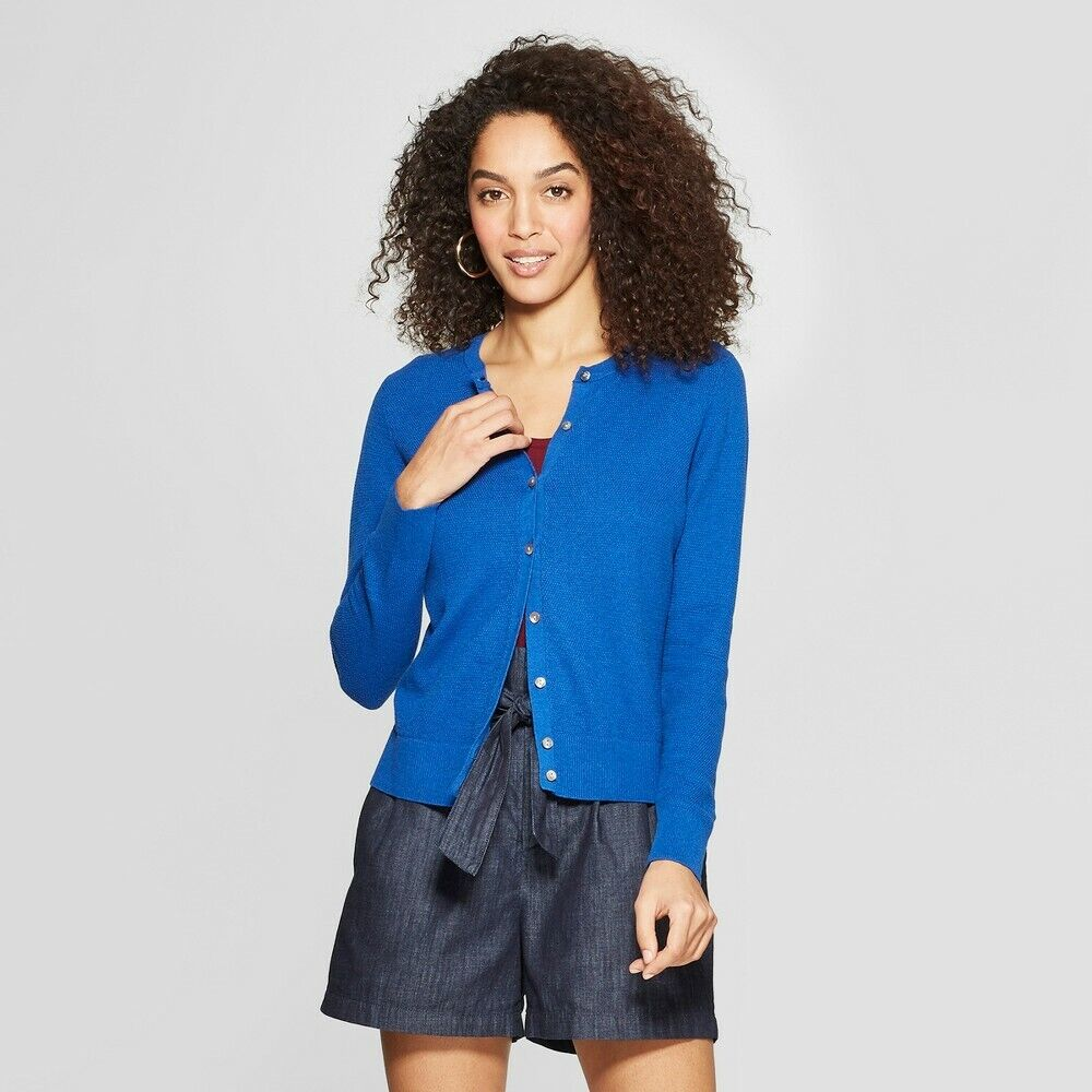 Women's Long Sleeve Cardigan – A New Day Medium Blue Clothing, Shoes & Accessories