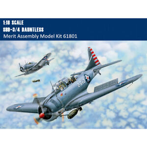Merit 61801 1/18 Scale SBD-3/4 Dauntless Dive Bomber Aircraft Assembly Model Kit
