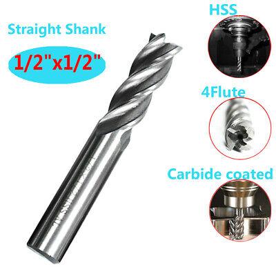 12 Hss Carbide Coated Straight Shank 4 Flute Spiral End Mill Cutter Drill Bit