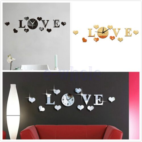 Mirror Wall Stickers LOVE Letter 3D DIY Acrylic Sticker Home Decor Wall Clock TW
