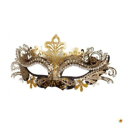 Maske aus Metall filigran schwarz-gold Maskenball Zubehör Karneval (Metall Filigran Maske)