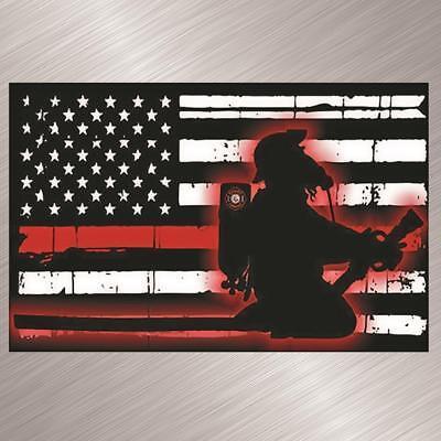 Fire Fighter Flag Vinyl Decal Sticker Kneel Memory Memorial Kneel Distressed Red
