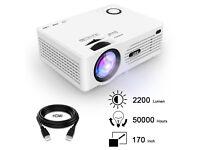 QKK 2200 Lumens LCD Projector 1080P Full HD, HDMI, VGA, USB, SD, **BOXED BRAND NEW RRP £129.99**