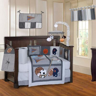 BabyFad 10 Piece Sports Champion Gray Sports Baby Crib Bedding set (Sport Bedding Crib)