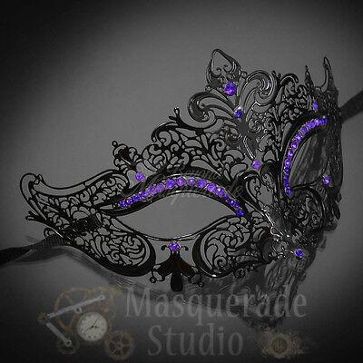 Womens Luxury Metal Venetian Masquerade Mask [Black with Purple Rhinestones]