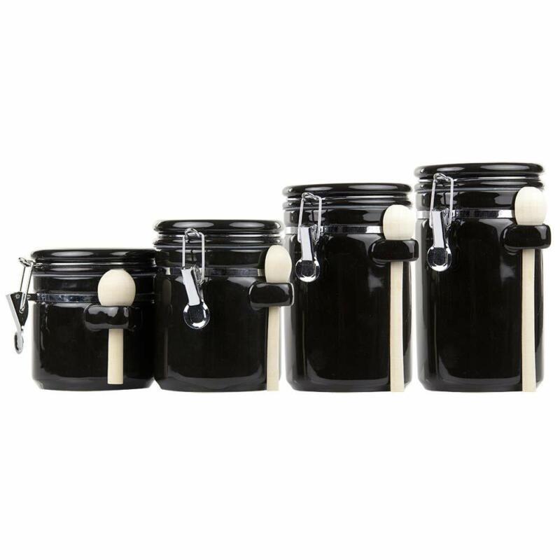 Home Basics 4Pc Ceramic Canister Set W/Spoon