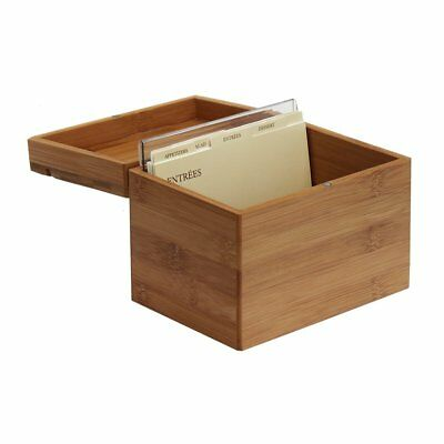 Recipe Holders (Kitchens Bamboo Recipe Box with Card Divider, Recipe Card Holder Organizer)