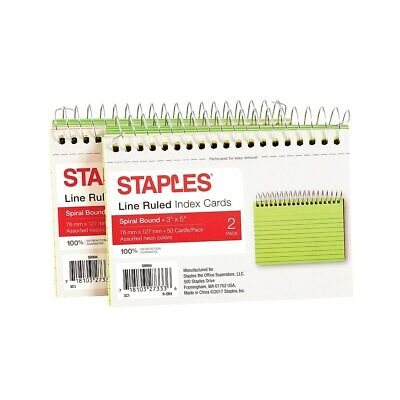 Staples 3 X 5 Line Ruled Assorted Neon Spiral-bound Index Cards 2pk 50994